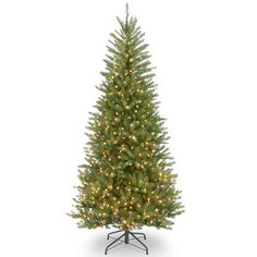Laurel Foundry Modern Farmhouse Slim Fir 7.5' Hinged Green Artificial Christmas Tree with 600 Clear Lights
