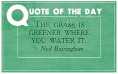"""The grass is greener where you water it."" A great quote to encourage perseverance and hard work!"
