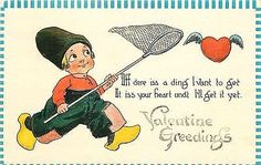 Valentine 1912 Dutch Boy Chasing Flying Heart Butterfly Net Vintage Postcard