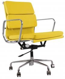 eames style ea217 soft pad office chair in italian leather yellow 285 amazing yellow office chair