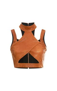 Alchemical Exercise clothing // Leather Cross Turtleneck by Jonathan Simkhai - Moda Operandi Cool Outfits, Fashion Outfits, Womens Fashion, Sleeveless Turtleneck Top, Sleeveless Tops, Turtleneck Shirt, Leather Crop Top, Leather Tops, Tan Leather