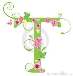 Letter T with roses by Yelena Panyukova, via Dreamstime