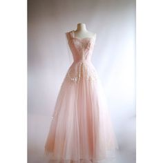 1950s Pink Tulle Evening Gown Vintage 50s Pink Prom Dress Xtabay... ❤ liked on Polyvore featuring intimates, sleepwear, nightgowns, vintage sleepwear, pink nightgown, holiday sleepwear, vintage nightdress and pink nightie