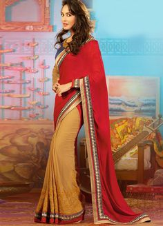 #Beautiful and #Charming #Lisa #Haydon #Georgette and #Chiffon #Saree with Raw Silk Blouse. For more collection of #Celebrity Saree #shop @ www.manndola.com/sarees-online/bollywood-sarees