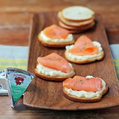 """""""Get the most out of snacking! Top bagel chips with Creamy Light Swiss cheese and a layer of smoked salmon. Salmon contains Omega-3 fatty acids, said to increase brain function and improve your memory, helping you to seize the day!"""" - @EmilyBites Ingredients: Bagel Chips The Laughing Cow Creamy Light Swiss cheese Smoked Salmon"""