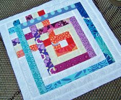 """carpenters square quilt pattern - I am thinking as one big quilt rather than 1 block.  If you used 4"""" strips it would come out to 52.5 inches square.  Or 3.5"""" strips would come out 45"""" square.  Good sixes for baby or lap quilts."""