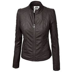 e8aee9b61b18a Biker Moto Jacket Faux Leather Zip Up With Stitching Detail  Plus