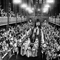 Elizabeth II, the Great, in full regal splendor, as she recesses down the nave of #WestminsterAbby after her #coronation II June Anno Domini MCMLIII