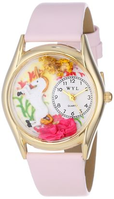 Classic Gold Unicorn Pink Leather And Goldtone wrist Watch