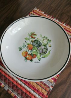 Over & Back Inc. Large Ceramic Pasta Bowl Made In Italy Vegetable Motif