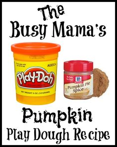 Sometimes life gets busy but this pumpkin play dough even the busiest mom can find time to make! Smells just like pumpkin pie!