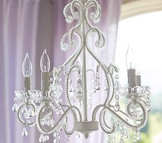White Lydia Chandelier   Pottery Barn Kids- This chandelier reminds me of the Cinderella carriage, this is a must have for the girl's room!