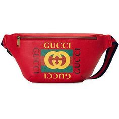 Shop the Gucci Print leather belt bag by Gucci. Inspired by vintage prints from the eighties, the Gucci logo is brought to the forefront. The retro-style motif is presented on the front of a belt bag in supple, textured leather. Leather Bum Bags, Real Leather Belt, Leather Fanny Pack, Leather Belts, Red Leather, Red Crossbody Bag, Small Shoulder Bag, Zipper Bags, Dior