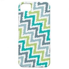 Blue Gray and Green Zigzags Ikat Pattern