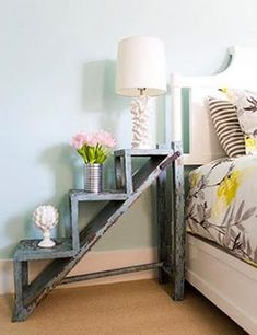 Shabby chic and stylish! Rescue an old ladder to make your own unique side table. Charming chic!