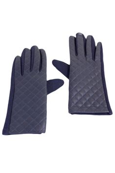 Quilted Faux Leather Texting Gloves
