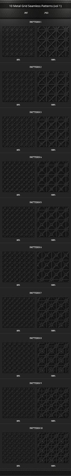 10 Metal Grid Tileable Patterns Set (vol 1)