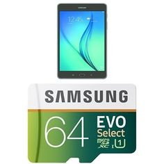 Samsung Galaxy Tab A 8-Inch Tablet (Wi-Fi)(16 GB, Smoky Titanium) & 64GB Samsung EVO Select Micro SDXC. Android 5.0 Lollipop, 8-inch Display. Samsung Quad Core Processor, 1.2 GHz. Up to 80MB/s transfer speed. Works with Cell phones, Smartphones, Android Tablets, Tablet PCs, and more.