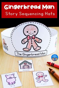 Gingerbread Man Sequencing Hats Make teaching sequencing FUN with these printable crowns for The Gingerbread Man! Gingerbread Man Sequencing Hats Make teaching sequencing FUN with these printable crowns for The Gingerbread Man!