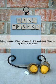 a magnetic chalkboard thankful board