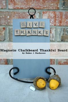 a magnetic chalkboard thankful board