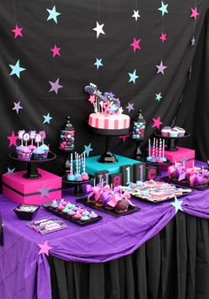 "Photo 2 of Rock Star Party / Birthday ""Halle's Rockstar Party"" Rockstar Party, Rockstar Birthday, Dance Party Birthday, Birthday Party For Teens, Birthday Party Themes, 8th Birthday, Pink Birthday, Birthday Ideas, Birthday Table"
