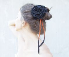 4 in 1 Halloween black and orange felted flower with cord: necklace, belt, bracelet and hair accessories