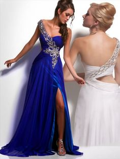 2012 Style A-line One Shoulder Pattern  Sleeveless Floor-length Chiffon Royal Blue Prom Dress / Evening Dress