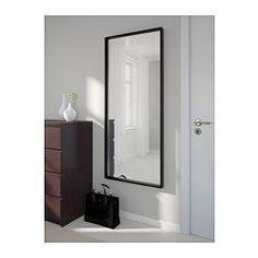 IKEA - NISSEDAL, Spiegel, zwart, , Kan horizontaal of verticaal opgehangen worden.Voorzien van beschermfilm - vermindert het risico op letsel en beschadigingen als het glas zou versplinteren.Past overal; ook getest en goedgekeurd voor de badkamer.