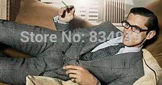 CUSTOM MADE HAUTE COUTURE,BESPOKE WHITE BLACK GLEN PLAIDS MEN SUITS 2014 WEDDING TUXEDOS FOR MEN (Jacket+Pants+Tie+Pocket Square