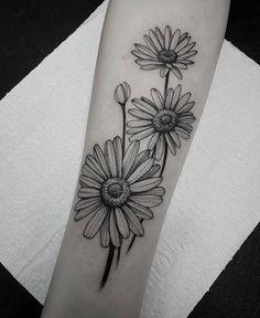 Daisies to cover up mountain range tattoo, dark and lots of black to hide colour - Tattoos - Tattoo Shading, Arm Tattoo, Body Art Tattoos, New Tattoos, Small Tattoos, Sleeve Tattoos, Colour Tattoo, Ankle Tattoo, White Daisy Tattoo