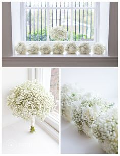 babys breath and white carnations bouquet wrapped with ivory ribbon for maid of honor cindy