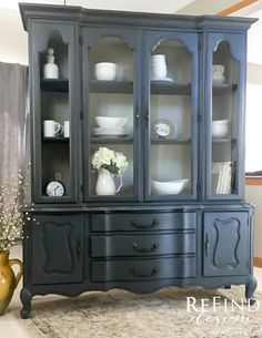 Hand painted in Annie Sloan custom color of Old Violet and Graphite highlights in Napoleonic Blue with custom linen interior. Clear and dark wax. Refurbished Furniture, Paint Furniture, Repurposed Furniture, Vintage Furniture, Furniture Stores, China Cabinet Redo, Painted China Cabinets, Hutch Makeover, Furniture Makeover