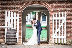 real weddings, wedding photography ideas, outdoor weddings, wedding kiss, brick accents, vintage and rustic wedding, bride and groom, happy couple, just married, Old Salem