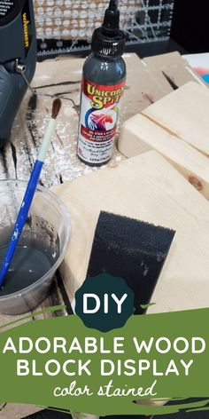 This DIY color stained wood block display is so simple to make, but has so much decorating potential and can be used to hold photos, recipes, cards and more. You can use scrap wood too! Get the… More Craft Tutorials, Craft Projects, Vintage Christmas Lights, Minwax Stain, Wood Scraps, Display Block, Diy Signs, Easy Diy Crafts, Photo Displays