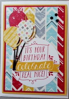 Male Birthday Card - using all Stampin' Up! products including Balloon Bash Stamp Set and Flashback DSP
