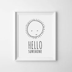 Kids room sign, playroom decor Hello Sunshine nursery printable wall art poster…