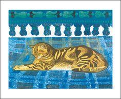Tom Cat, linocut by Sheila Robinson