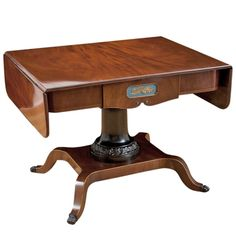Salon Table in Mahogany with Satinwood Inlays, Northern Europe, c. 1815