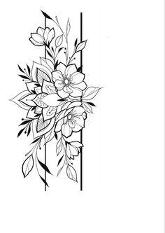 Tattoo Outline Drawing, Flower Tattoo Drawings, Tattoo Sketches, Chest Tattoo Outline, Floral Tattoo Design, Mandala Tattoo Design, Flower Tattoo Designs, Dope Tattoos, Body Art Tattoos