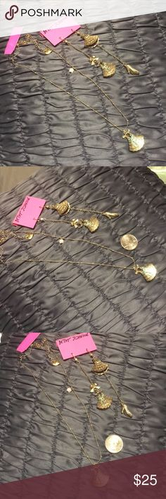 Betsy Johnson necklace and earrings set Very cute .. nwt necklace with dress charm and shoes. Betsey Johnson Jewelry Necklaces