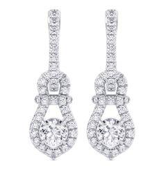Diamond Drop Earrings, Round Earrings, Halo Diamond, Diamond Jewelry, 18k Gold, White Gold, Engagement Rings, Silver, Diamond Earrings