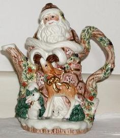 Fitz and Floyd, Teapots/Pitchers    - retired; Snowy Woods Teapot
