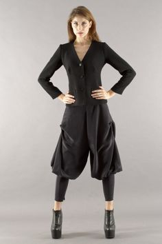 Black jacket and silk draped trousers Milby