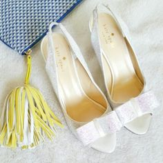 💙HP!×2💙 Kate Spade Charm Glitter Bow Slingbacks Kate Spade Pearl Glitter Bow Slingbacks. Size 8. 3 inch heels. New without a tag condition. Minor wear due to storage. See 4th photo. kate spade Shoes Sandals