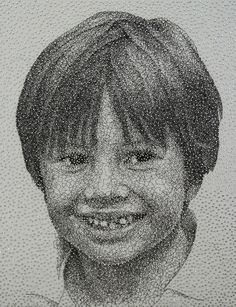 Remarkable Portrait Made with a Single Sewing Thread Wrapped through Nails by Kumi Yamashita