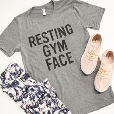 736f232e Resting Gym Face Graphic Tee Funny Workout Tanks, Pink Lily Boutique,  Slogan Tee,