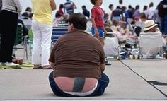 I can think of no good reason for this man to have his butt crack sealed with duct tape. None.