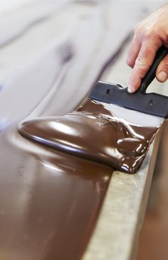 Ganache melted on marbles at La Maison du Chocolat © Caroline Faccioli