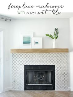 """DIY Fireplace Makeover - cement tile surround fireplace. Floor is Daltile™ Forest Park  porcelain tile in color: Sugar Maple. 1/8"""" grout lines. More info on floors at: http://centsationalgirl.com/2014/08/finished-floors/"""